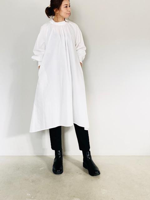SELECT (セレクト)  フロントギャザースタンドカラーシャツワンピース  OFFWHITE