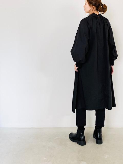 SELECT (セレクト)  フロントギャザースタンドカラーシャツワンピース  BLACK