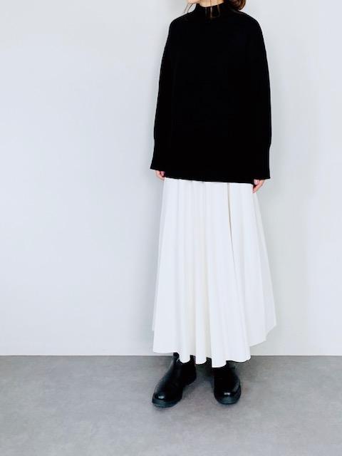 SELECT(セレクト) ライトダンボールニットプリーツスカート  WHITE