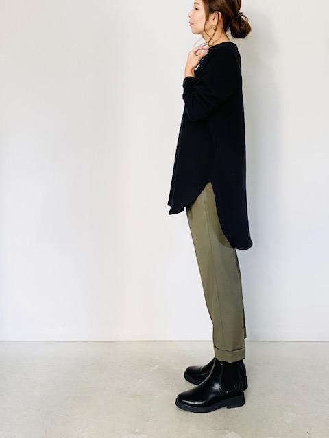 SELECT (セレクト)  裏毛長袖ラウンドロングプルオーバー  BLACK
