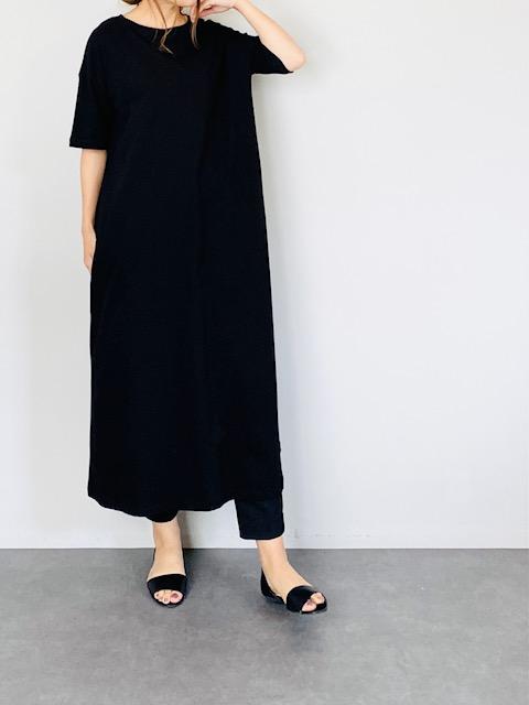 SELECT(セレクト) 半袖ロングTシャツワンピース  BLACK
