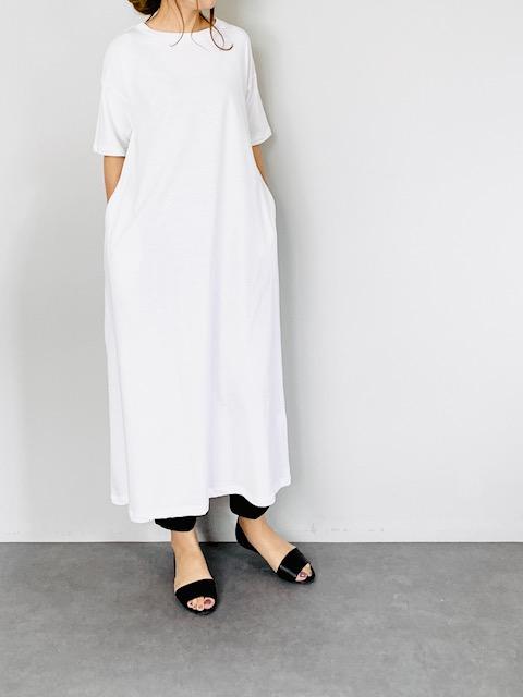 SELECT(セレクト) 半袖ロングTシャツワンピース  WHITE