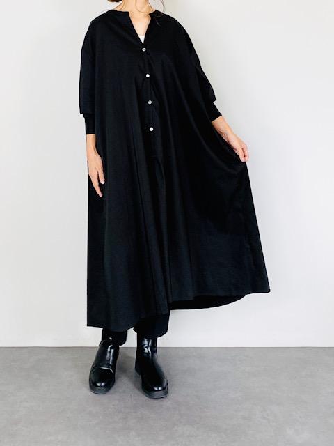SELECT(セレクト) バックギャザースキッパーシャツワンピース  BLACK