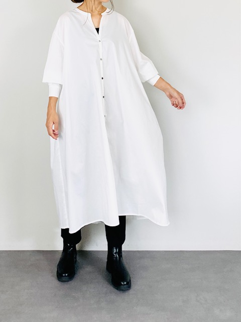 SELECT(セレクト) バックギャザースキッパーシャツワンピース  WHITE