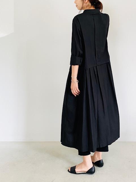 SELECT(セレクト)  バックプリーツ切り替えシャツワンピース BLACK