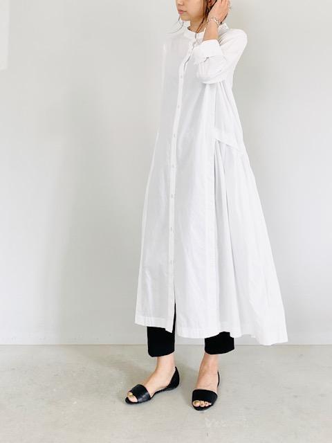 SELECT(セレクト)  バックプリーツ切り替えシャツワンピース WHITE