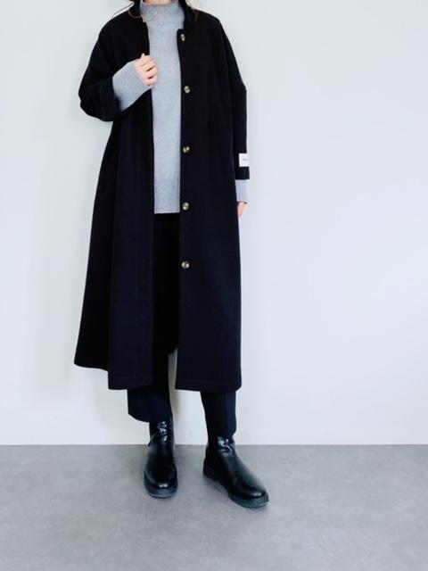 SHES(シーズ)    ステンカラーロングコート  BLACK