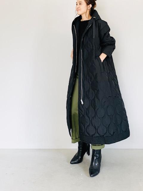 SHES(シーズ)  キルティングフードロングコート BLACK