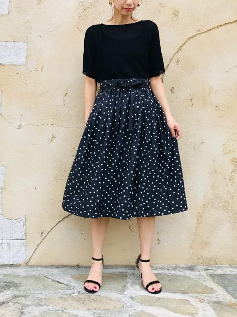 TROIS (トロワ)  リボン付タフタスカート