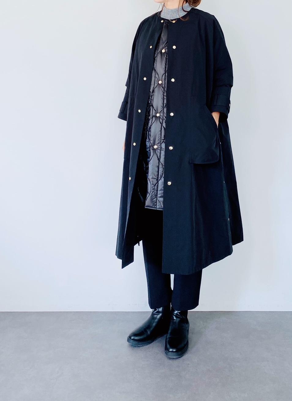 TROIS(トロワ)   キルティングベスト付きグログランノーカラーコート  BLACK