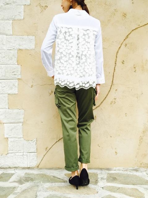 TROIS(トロワ)  バックレースシャツ