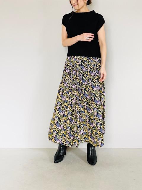 SELECT(セレクト)  フラワープリントギャザーフレアロングスカート