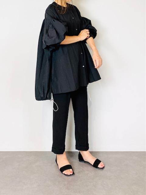 SELECT(セレクト) 裾ドロストシアーボリューム袖ブラウス  BLACK