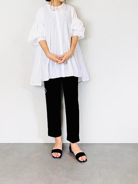 SELECT(セレクト) 裾ドロストシアーボリューム袖ブラウス  WHITE