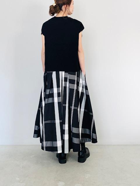SELECT (セレクト)  チェック柄メモリーフレアスカート  BLACK