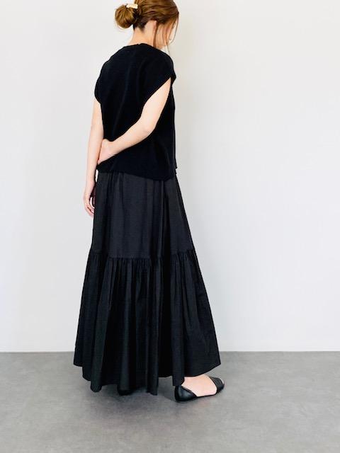 SELECT(セレクト) コットン2段ティアードスカート  BLACK