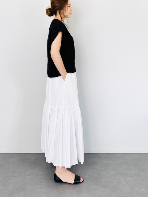 SELECT(セレクト) コットン2段ティアードスカート  WHITE