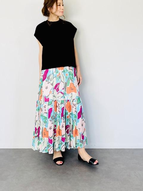 SELECT(セレクト) ペイント風プリント楊柳2段ティアードスカート RED