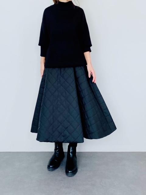 SELECT(セレクト) キルティングフレアスカート  BLACK
