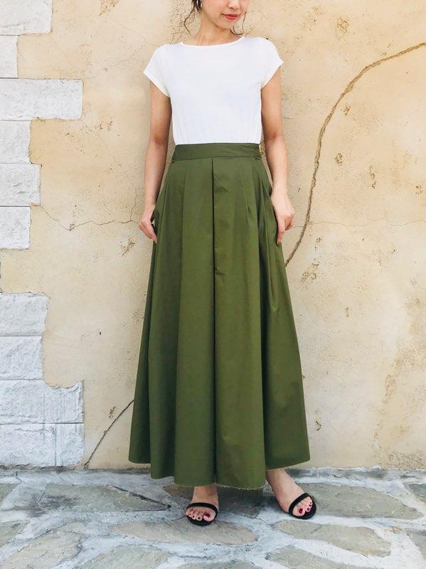 SELECT(セレクト)  タックフレアボリュームロングスカート