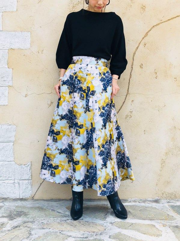 SELECT(セレクト)  フラワージャガードロングスカート