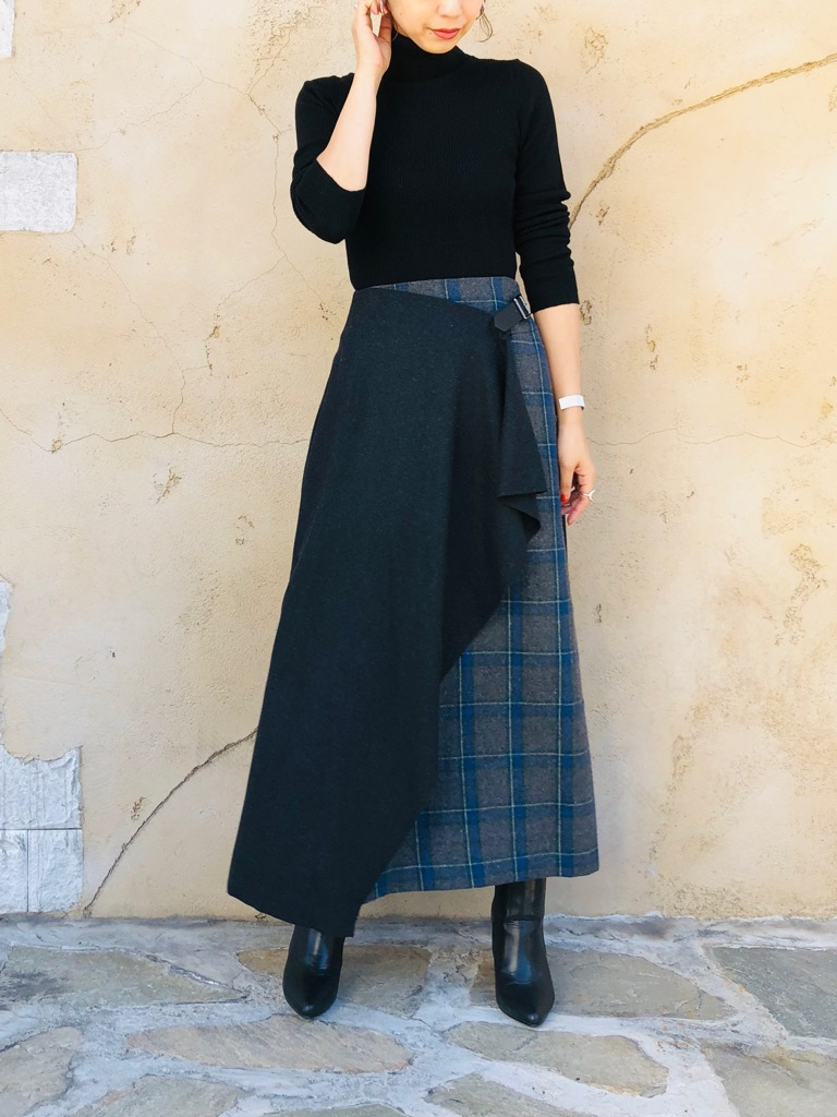 SELECT(セレクト)  チェック柄ロングアシンメトリー巻きスカート
