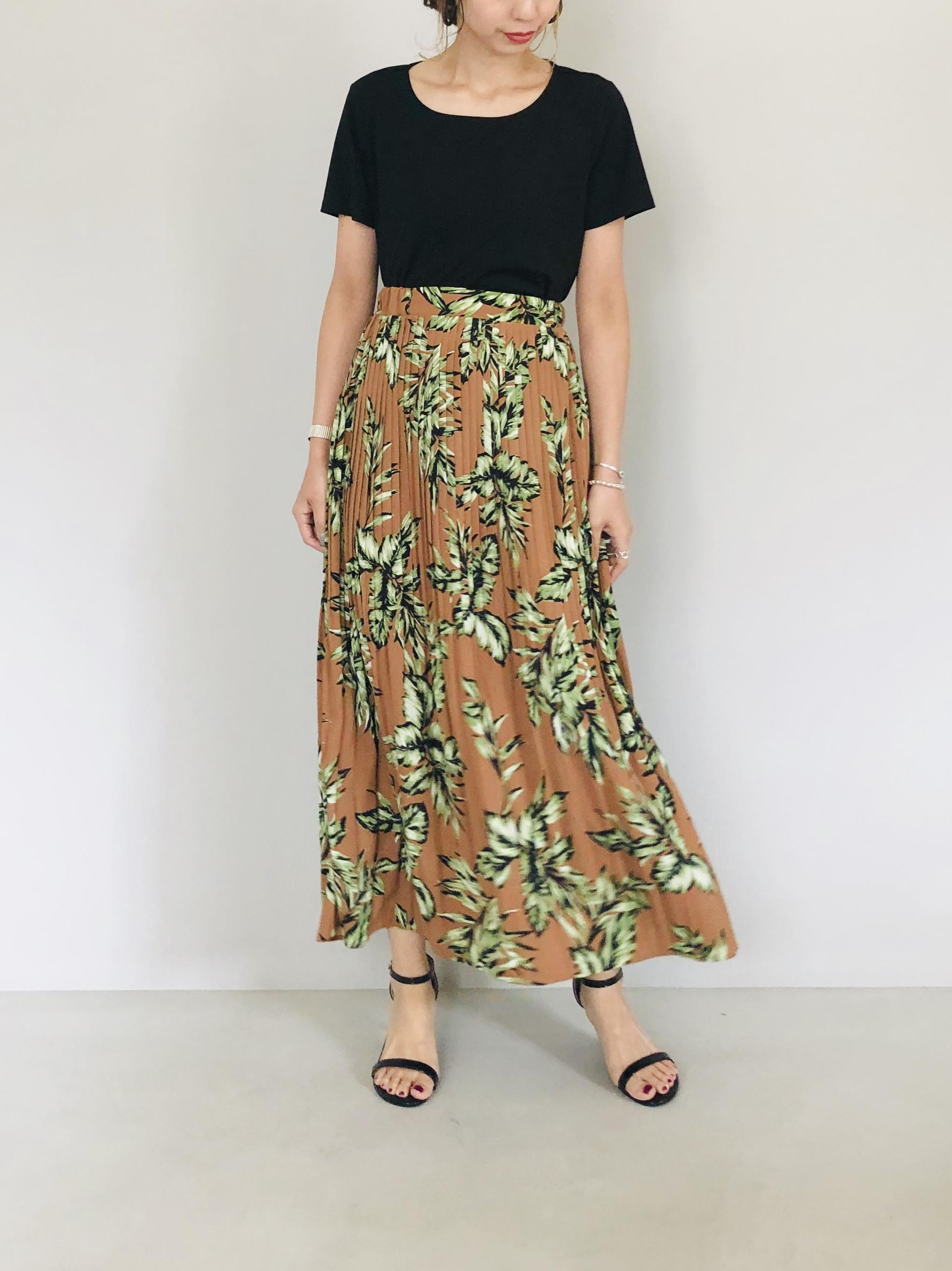 SELECT(セレクト)  リーフプリントプリーツマキシスカート