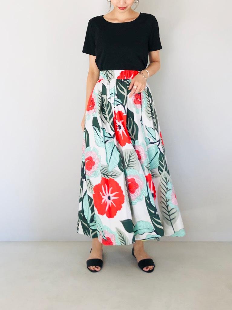 SELECT (セレクト)  サマーフラワープリントフレアーロングスカート