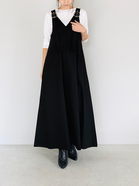 SELECT(セレクト)  テントラインリングベルトジャンバースカート BLACK