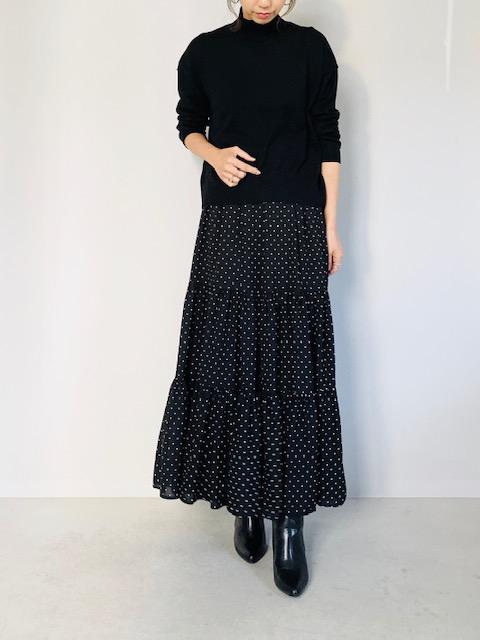 SELECT (セレクト)  ドットティアードマキシスカート