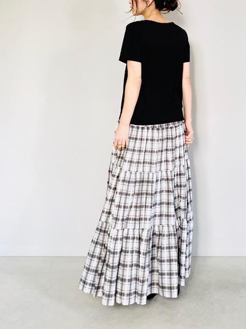 SELECT(セレクト)  チェックティアードロングスカート