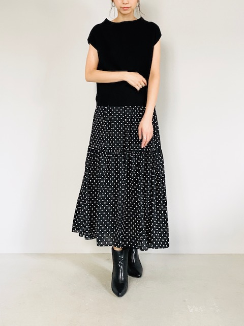 SELECT (セレクト)  1段ドットティアードロングスカート